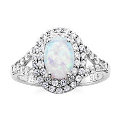 Lab-Created Opal & White Sapphire Double Halo Ring in Sterling Silver
