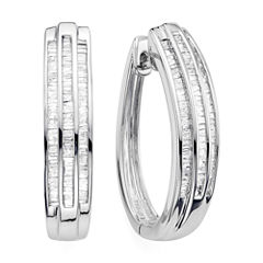 1 CT. T.W. Diamond Sterling Silver Triple-Row Hoop Earrings