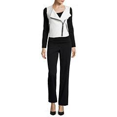 Liz Claiborne® Quilted Knit Jacket, Print Top or Trouser Pants - Petite