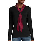 Crinkled Solid Satin Bolo Scarf