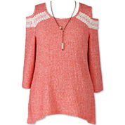 SPEECHLESS 3/4 SLEEVE COLD SHOULDER W/ NECKLACE