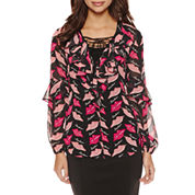 Bisou Ruffled Lace Up Top