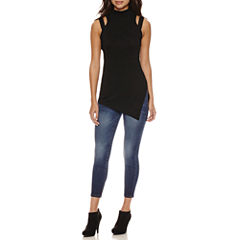 Bisou Bisou Mock Neck Assymetrical Top or Stacked Waist Skinny Jeans