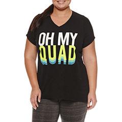 Xersion™ Short Sleeve V Neck T-Shirt-Plus