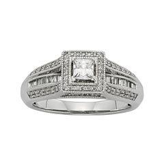 1/2 CT. T.W. Diamond 10K White Gold Princess-Cut Bridal Ring