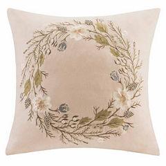 Madison Park Wreath Square Throw Pillow