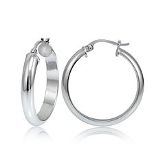 Sterling Silver Half Round 25MM Hoop Earrings