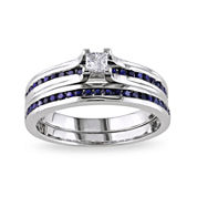 5/8 CT. T.W. White and Lab-Created Blue Sapphire Ring Set