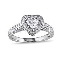 1 CT. T.W Diamond 14K White Gold Heart Ring