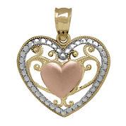 Tesoro™ 14K Tri-Color Puff Filigree Heart Pendant