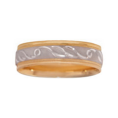 Mens 10K Two-Tone Gold 6mm Engraved Wedding Band