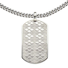 Inox® Jewelry Mens Stainless Steel Basket-Weave Dog Tag Pendant Necklace