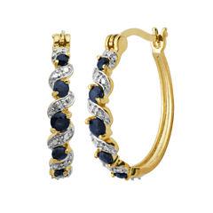 Sparkle Allure Blue Sapphire Hoop Earrings