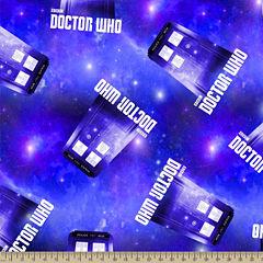 Doctor Who Police Box Fleece Fabric By the Yard