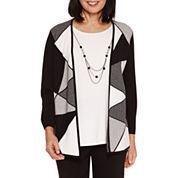 Alfred Dunner City Life 3/4 Sleeve Crew Neck Layered Sweaters