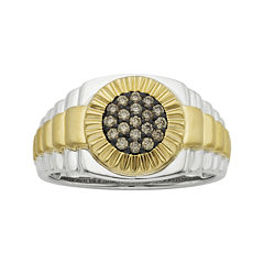 Mens 1/4 CT. T.W. White and Champagne Diamond 10K Two-Tone Gold Ring