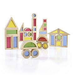 Guidecraft Jr. 40-pc. Rainbow Building Blocks Set