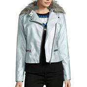 a.n.a Faux Fur-Collar Metallic Moto Jacket