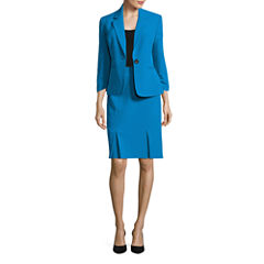 Black Label by Evan-Picone 3/4 Sleeve 1-Button Jacket with Kick Pleat Skirt
