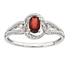 Womens Diamond Accent Red Garnet Sterling Silver Halo Ring