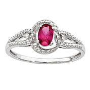 Womens Lab-Created Red Ruby and Diamond Accent Ring in Sterling Silver