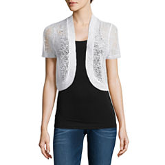 It's Our Time Open Front Shrug Short Sleeve Cardigan-Juniors