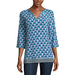 Nicole By Nicole Miller Long Sleeve V Neck T-Shirt