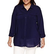 a.n.a 3/4 Sleeve Button-Front Shirt-Plus