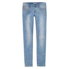 V Gold 5-Pocket Star Rhinestone Embellished Skinny Jean