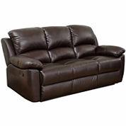 Paisley Leather Pad-Arm Reclining Sofa