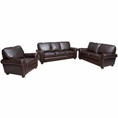 Oliva Leather Sofa + Loveseat Set
