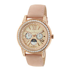 Peugeot® Womens Crystal-Accent Pink Leather Strap Moon Phase Watch