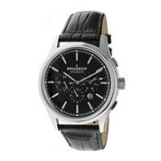Peugeot® Mens Black Dial Black Leather Strap Automatic Watch