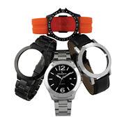 Peugeot® Mens Pop-Out Interchangeable Watch Set