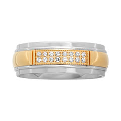 1/10 CT. T.W. Diamond Men's Two-Tone Stainless Steel Wedding Band