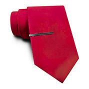 JF J. Ferrar® Solid Satin Tie and Tie Bar Set - Extra Long