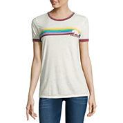 Short Sleeve Burnout Ringer Crew Neck T-Shirt-Juniors