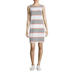 Liz Claiborne Sleeveless Shift Dress-Petites