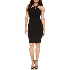 Bisou Bisou Halter Knot Neck Lace Back Sheath