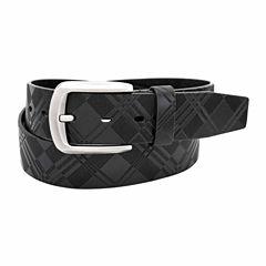 Stacy Adams Brush Nickel Buckle Single Leather Pattern Belt