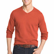 IZOD V Neck Long Sleeve Cotton Pullover Sweater