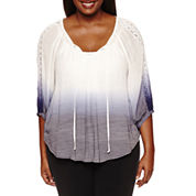 by&by 3/4 Sleeve Scoop Neck Gauze Blouse-Juniors Plus