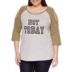 3/4 Sleeve Scoop Neck Graphic T-Shirt