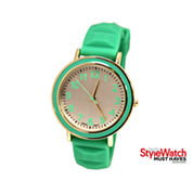 Womens Silicone Pyramid Strap Watch