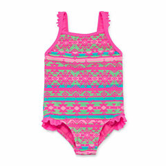 Okie Dokie Solid One Piece Swimsuit Toddler Girls