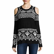 Ohmg Long Sleeve Round Neck Pullover Sweater-Juniors