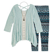 Knit Works Legging Set with Long Sleeve Sharkbite Top and Necklace - Girls 7-16 and Plus