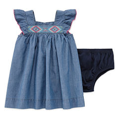 Arizona Girl Chambray Dress Short Sleeve Sundress - Baby Girls