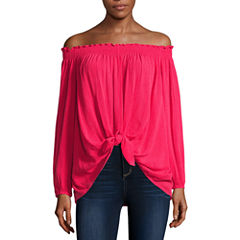 Nicole By Nicole Miller Long Sleeve Boat Neck Gauze Blouse