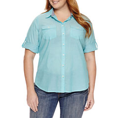 St. John's Bay 3/4 Sleeve Button-Front Shirt-Plus